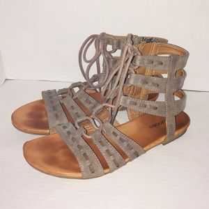 Maurice's Gray Gladiator Sandals Zip Up Shoes
